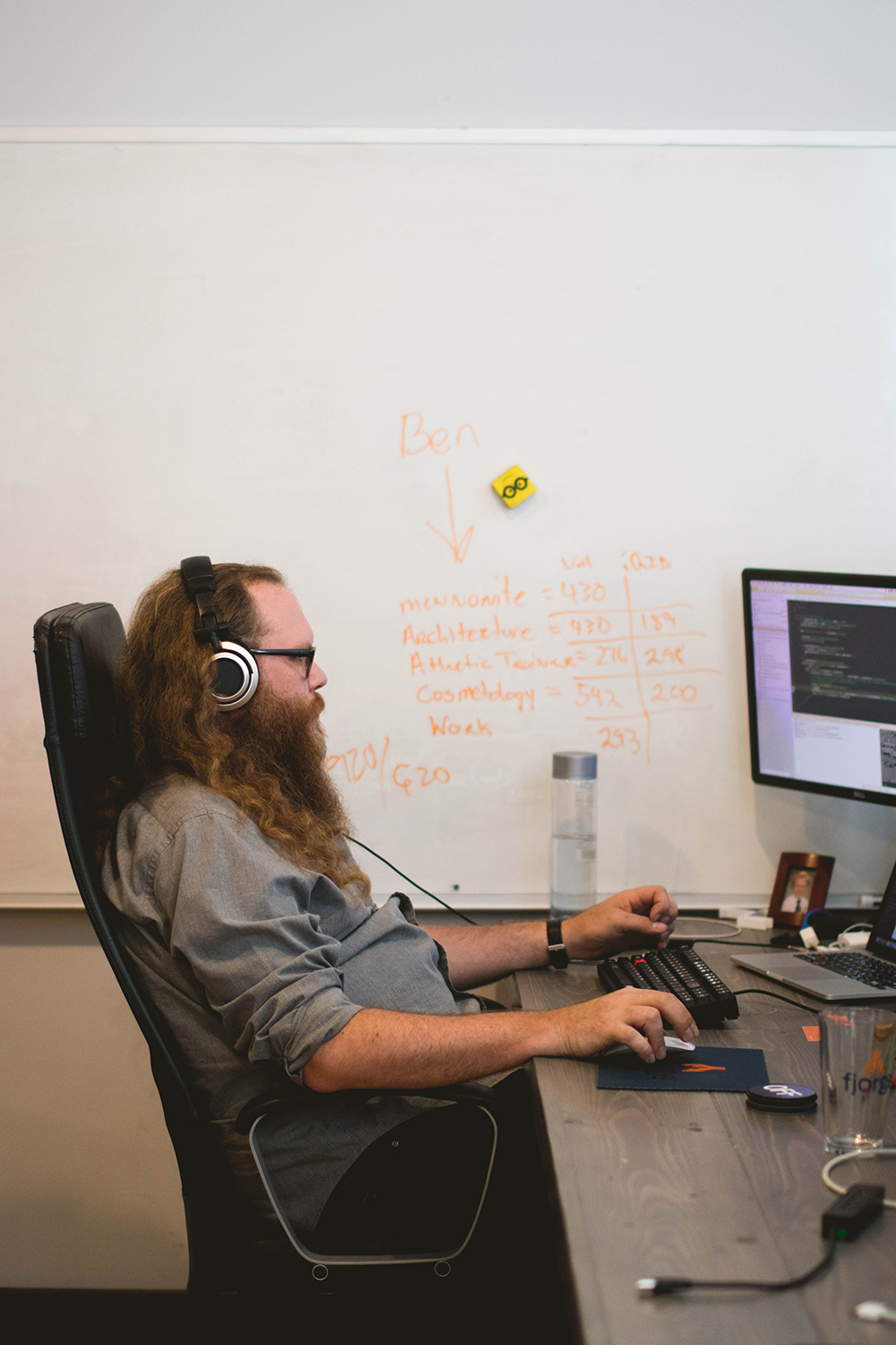 man sitting in chair with headphones on tying on computer in office with white board