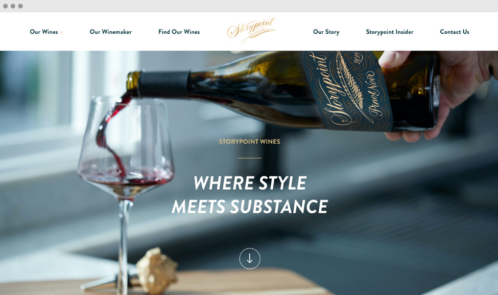 Screenshot of Storypoint Wines website, hand holding bottle of wine pouring into glass