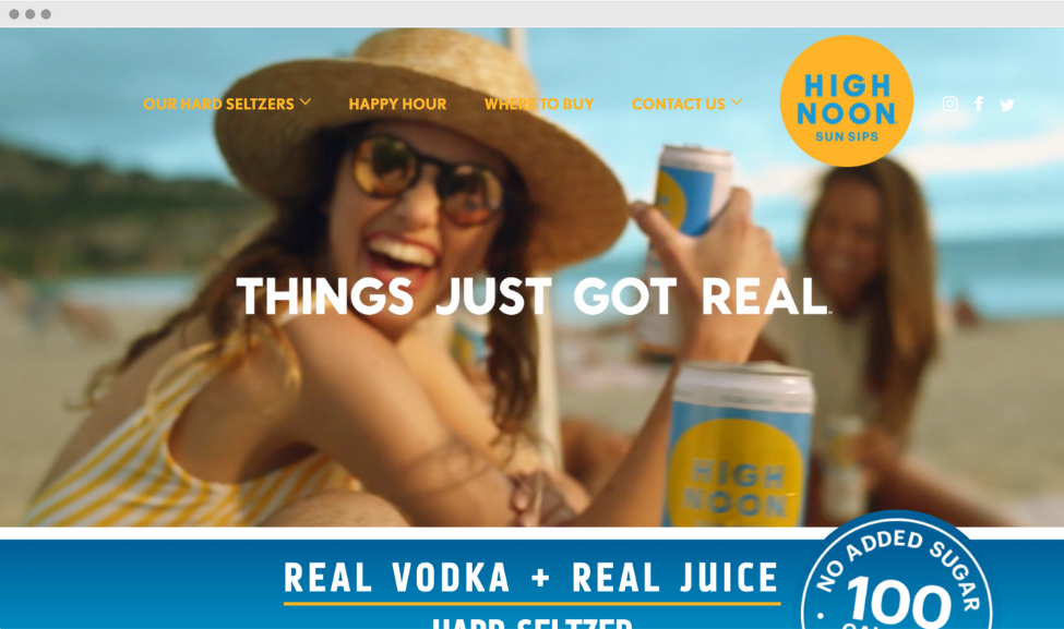 """Screenshot of High Noon Sun Sips website homepage, """"things just got real"""" in white on the center of the page with girl in sunglasses and sunhat on the beach holding a can of high noon"""