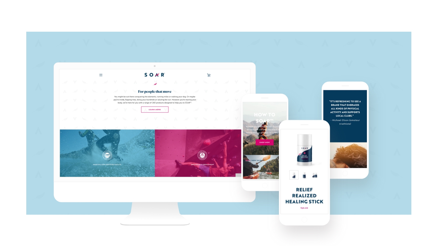 mockup of computer and mobile screens from soar website